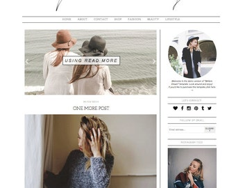 Blogger Template WRITERS DREAM Premade Responsive Blog Theme // Simple Modern Blogspot Design Instant download