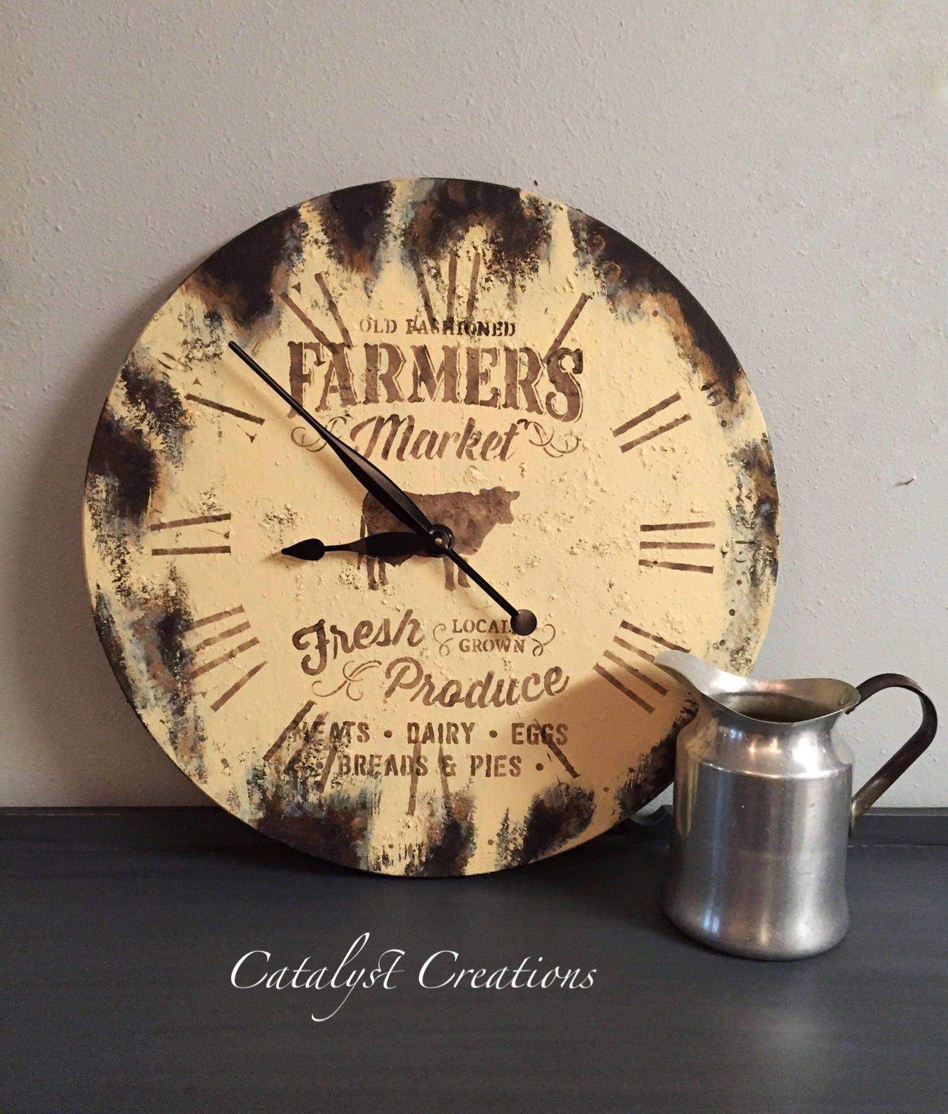 Cream Farmers Market Clock Rustic Clock Farmstyle Clock