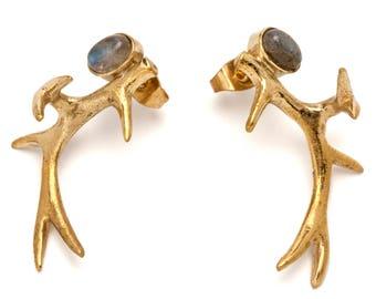 Antler Earrings with Labradorite  (JB-E-052)