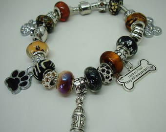 Brindle Pit Bull European charm brown & blacks Murano beads bracelet paws crystals dog hydrant You pick chain size Help save a cat/kitten