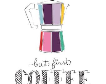 Kitchen art print - Coffee print - Coffee Lover Gift - Kitchen Art - coffee art print - coffee illustration - Coffee bar art - Word art