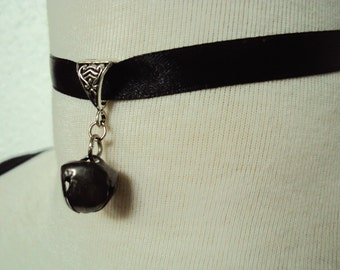 Black Bell Ribbon Choker Necklace ~ Bell Necklace ~ Bell Choker ~ Cat Bell Necklace ~ Cat Bell Choker ~ Soft Grunge ~ Punk Choker
