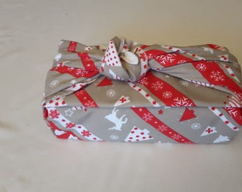 gift bag fabric, Christmas gift, wrapped in tissue, recyclable, furoshiki, pocket tissue holder