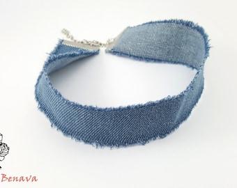 Choker Necklace Denim Jeans Blue