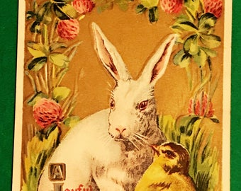 Antique 1900s Easter Postcard, Cute Little Easter Bunny And Little Chick, Embossed, Wonderful Vintage Post Card