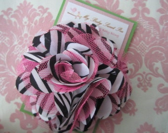 girl hair clips - girl barrettes - zebra flower hair clips