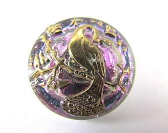 Peacock Lavender and Gold Czech Glass 22mm Button or Jewelry Bead