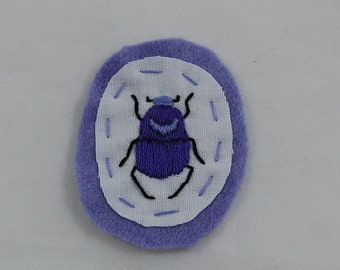 Lavender Beetle Embroidered Patch