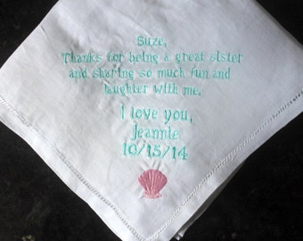 Sister of the bride embroidered wedding handkerchief, sister memento gift, personalized sister of the bride gift