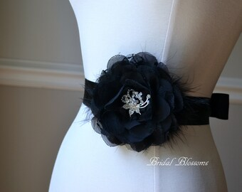 TERESA Black Vintage Inspired Bridal Sash   Chiffon Lace Flower Brooch Wedding Dress Sash   Bridal Belt   Feather   Bridesmaids Jewels Bling