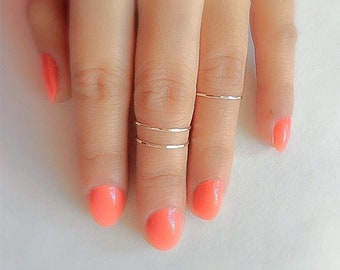 Solid .925 Sterling Silver Dainty Stackable Ring Midi Ring Petite Above Knuckle Ring Stacking Rings