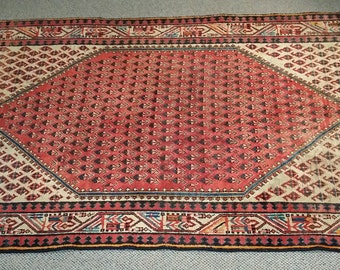 "Vintage Persian Rug 1940's ARAK 4' x 6' 7"" Handmade, Hand-knotted, Natural Dyes, Bohemian, Boho Chic, Made in Iran 449m"