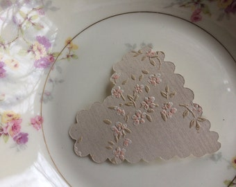 20 upcycled vintage italian  wallpaper scalloped hearts- petite floral