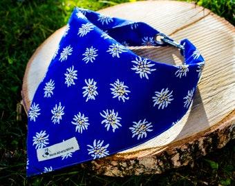 Bandana Edelweiss Blue/dogs/bandana/adventure/Switzerland/Swiss/Tradition/dogs/accessories/animals/homemade/nature