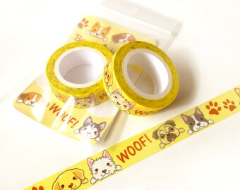 Cute Dogs Washi Tape. Planner Decoration. Kawaii Washi Tape. Cute Washi Tape. Masking Tape. Planner Supplies. Craft Tape. Animal Washi Tape.