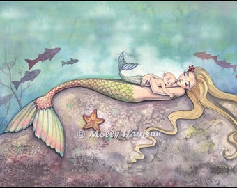 Mermaid Lullaby Mother and Baby Mermaids Fine Art Giclee Print 12 x 16