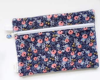Rectangle Pouch Pencil Case // Rosa in Blue by Rifle Paper Co.