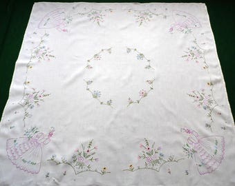 Vintage white linen square tablecloth Women in bonnets flowers hand embroidery embroidered table cloth