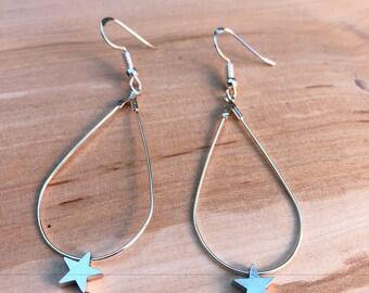 STAR, drop earrings Silver earrings with star, 925 Silver hook