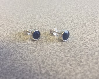 925 Sterling Silver studs,genuine Blue Sapphire, birthstone for September,  5mm round, zodiac,