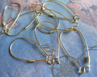 12 PC Raw Brass Elongated Kidney Ear Wires 37mm - A