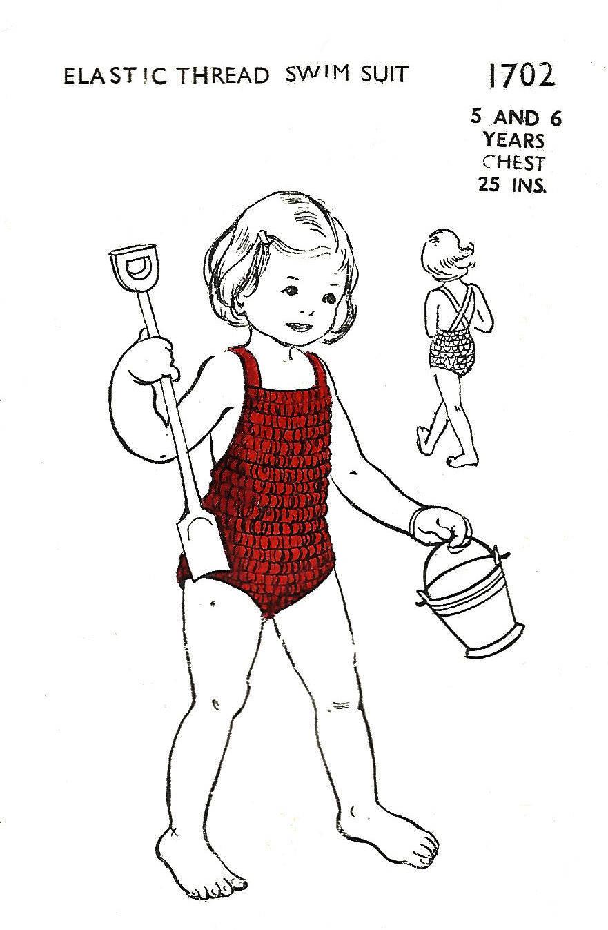 Jahrgang 1950 Mädchen elastischen Faden Badeanzug Baden Anzug