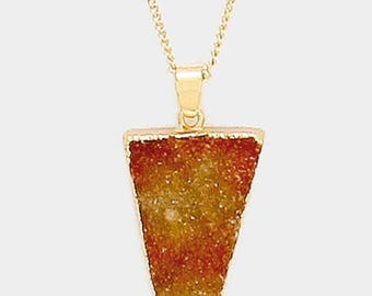 Geo Raw Druzy Pendant Long Necklace Gold/Neutral
