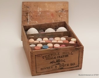 Rare BINNEY & SMITH Textile Mill Chalk Crayon Wooden Crate - Industrial - Crayola - Vintage Advertising Wooden Box - Early 1900s - Prop