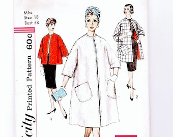 Vintage 1960s Coat Pattern Simplicity Misses size 18 Bust 38 UNCUT Womens Coat Sewing Pattern 60s