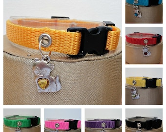 Basic Webbing Cat Collar in Eight Available Colours