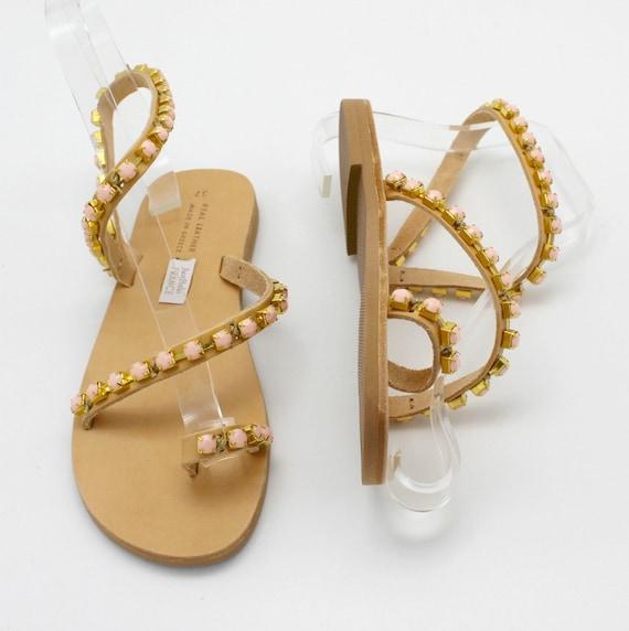Sandals cuir Sandals Sandales sandals sandalen Pearl Strappy embellished sandali Leather greci leder Sandals femme Woman greek sandals CRp7tqp