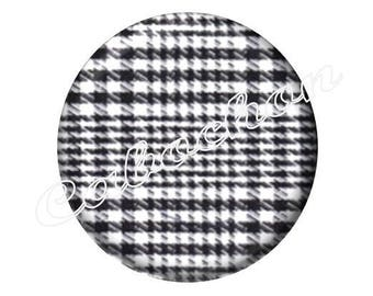 2 black and white Tartan check cabochons 25mm glass on my lips