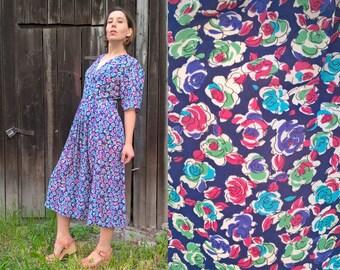 Sale 50% Floral Print Retro Dress Day Dress Midi Dress Work Dress Summer Dress Wrap Top dress Chiffon dress Evening summer dress Vintage