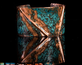 Medium Fold formed copper cuff with blue patina