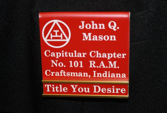 Chapter Royal Arch Masons Officer or Members over the pocket Badge with interchangeable title slide bar