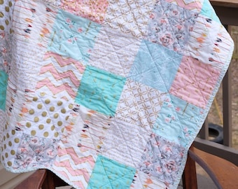 Baby Crib Quilt, Ready to ship  Sparkle Quilt, Floral Quilt Modern quilt Mint quilt Coral quilt, Arrow quilt