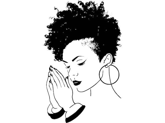 Women Praying Nubian Princess Queen Afro Hair Style Beautiful