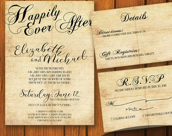 Fairytale Wedding / Vintage Wedding Suite / Old Paper Wedding Invitation / Fairy tale  / vintage / fairytale / Happily Ever After