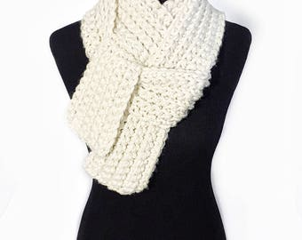 Cream Ribbed Long Scarf, Crochet Neck Warmer, Off-White Wrap, Beige Cowl, Winter White Knit Scarf