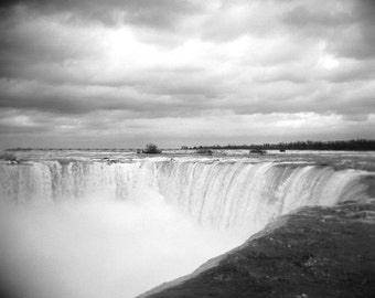 niagara falls photo, black white, waterfall photo, home decor, holga, dramatic, water, niagara falls, niagara, nature, ontario, photo print