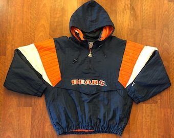 Vintage Starter Chicago Bears 1/4 Zip Pullover Jacket Size Large Monsters Of The Midwest