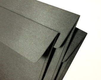 """A7 (5x7) Metallic Black Envelopes - Perfect for 5""""x7"""" party invitation (pack of 10 or 20) - The actual size is 5 1/4""""x7 1/4"""""""