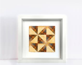 photographic patchwork manulua pattern - polynesian pattern, contemporary art, hand embellished print, square, photo art - rust and weave