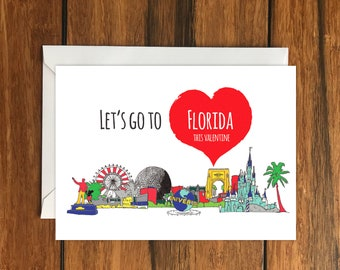 Let's go to Florida for Valentines blank greeting card (A6) Holiday Gift Idea