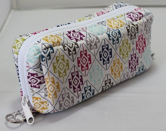 Essential Oil Case Holds 10 Bottles Essential Oil Bag Colorful Navajo Pattern on White