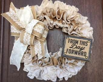 Wedding Wreath, Anniversary Wreath, Bridal Shower Wreath, Burlap Wreath