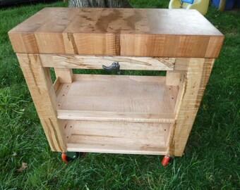 Butcher Block Roll Cart
