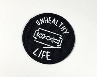 Unhealthy Life Hand-Painted Patch | Iron on, Sew on Patch / Applique