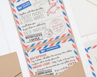 Handmade Pocketfold Wedding Invitation Airmail Post Travel Vintage Inspired Recycled Card