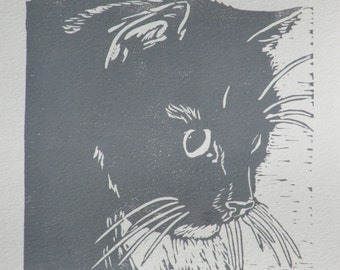 "Longhaired cat block print - ""On watch"" hand-pulled print of watchful grey cat"